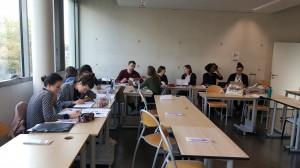 Les participant·es durant l'atelier d'écriture