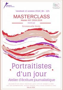 Masterclass « Portraitistes d'un jour – Atelier d'écriture journalistique » –  12/10/18