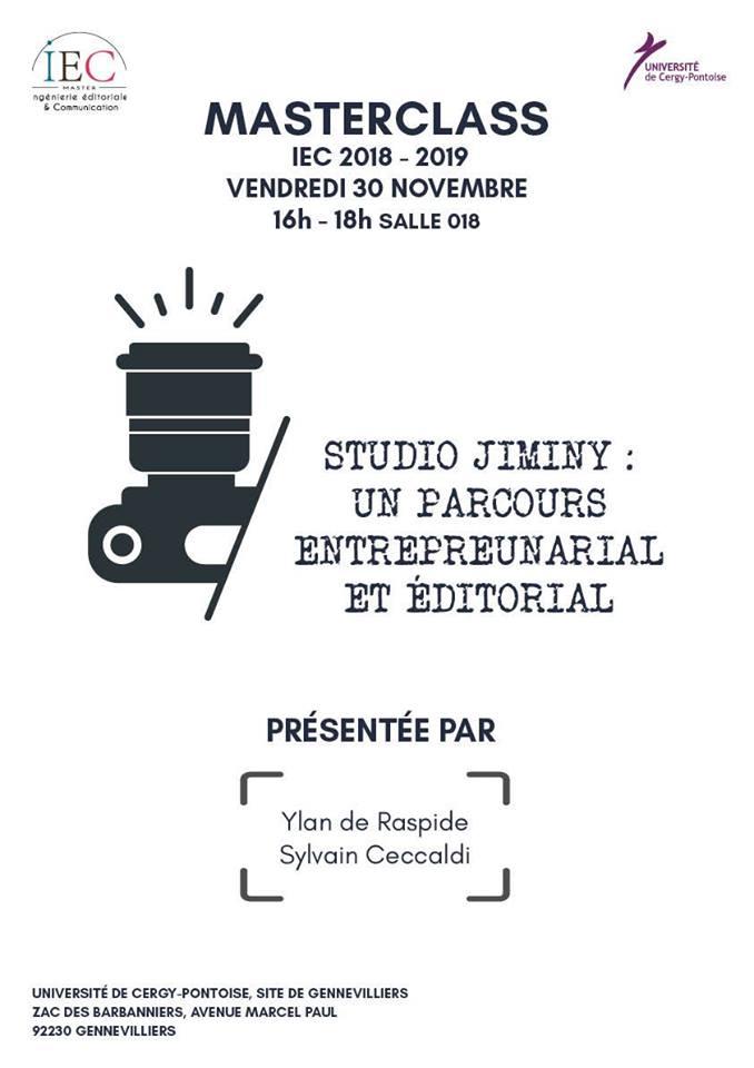 Masterclass Studio Jiminy - Un parcours entrepreunarial et éditorial